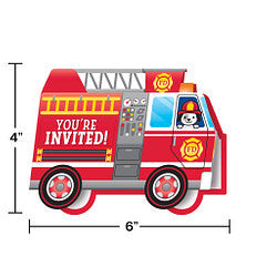 Flaming Fire Truck Invitations