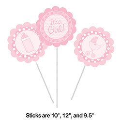 It's a Girl Centerpiece Sticks