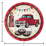 "Vintage Red Truck 7"" Lunch Plates"