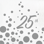 Sparkle and Shine 25th Silver Lunch Napkins (16 counts)