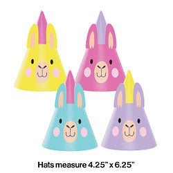 Llama Party Plastic Paper Party Hats (8 Counts)