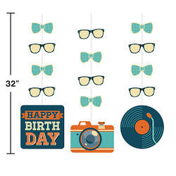 Hipster Birthday Hanging Cutouts