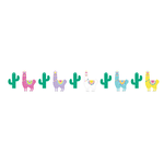 "Llama Party Plastic Shaped Ribbon Banner (6 ft x 6"") with Twine"