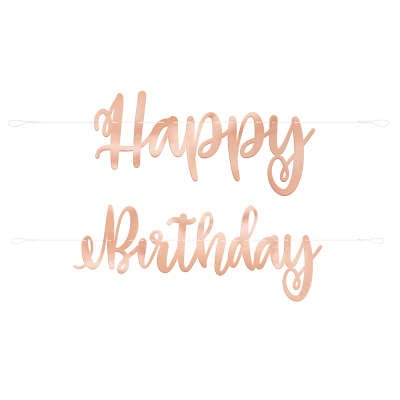 "Rose Gold Script ""Happy Birthday"" Banner 7 ft"