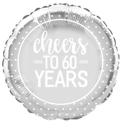 "18"" Round Foil Balloon Silver Cheers to 60 Years"
