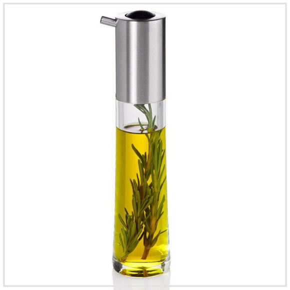 Ad Hoc Oil/Vinegar Dispenser in Acrylic with Stainless Steel Lid and Silicone Release Button