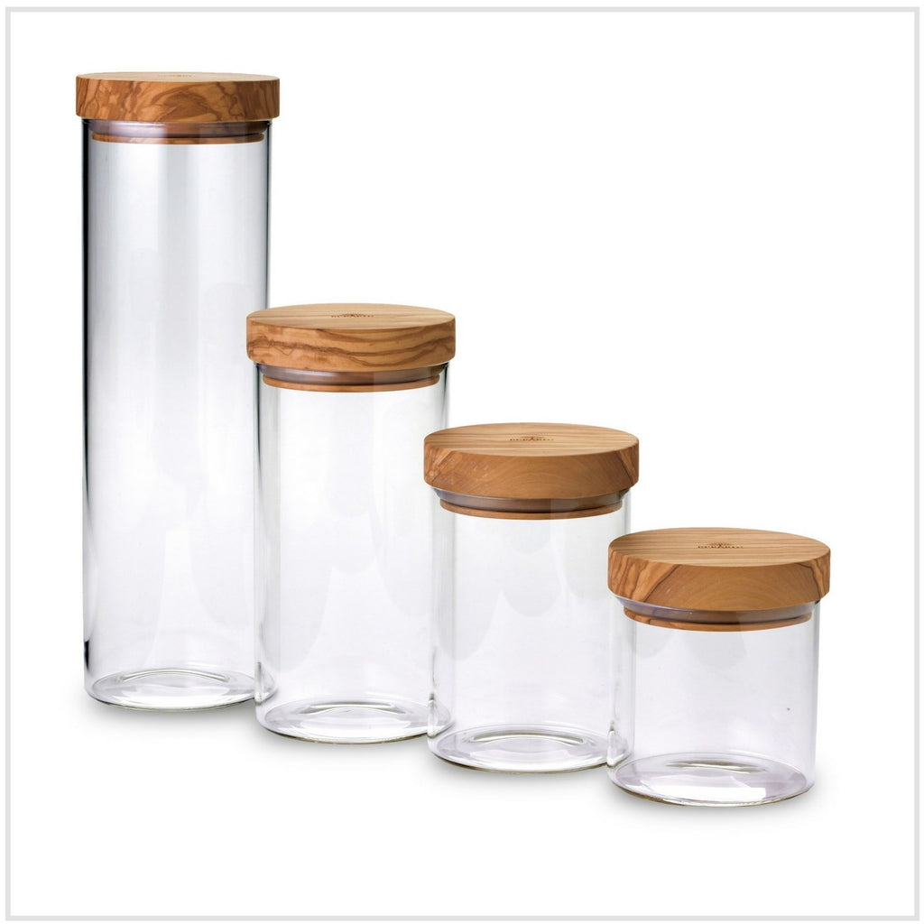 Glass Jar w/ Olive Wood Lid 900ml