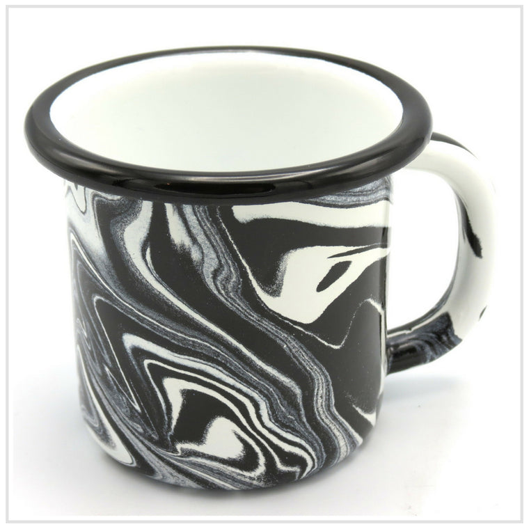 Bornn Marbled Black Mug in Enamel