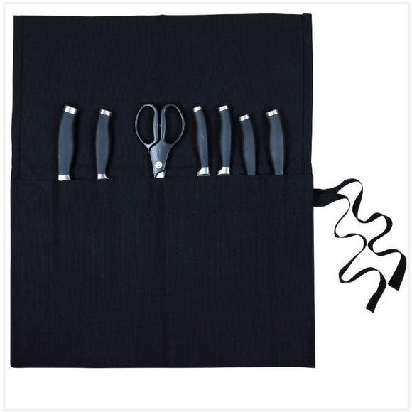 Knife Roll Black Canvas