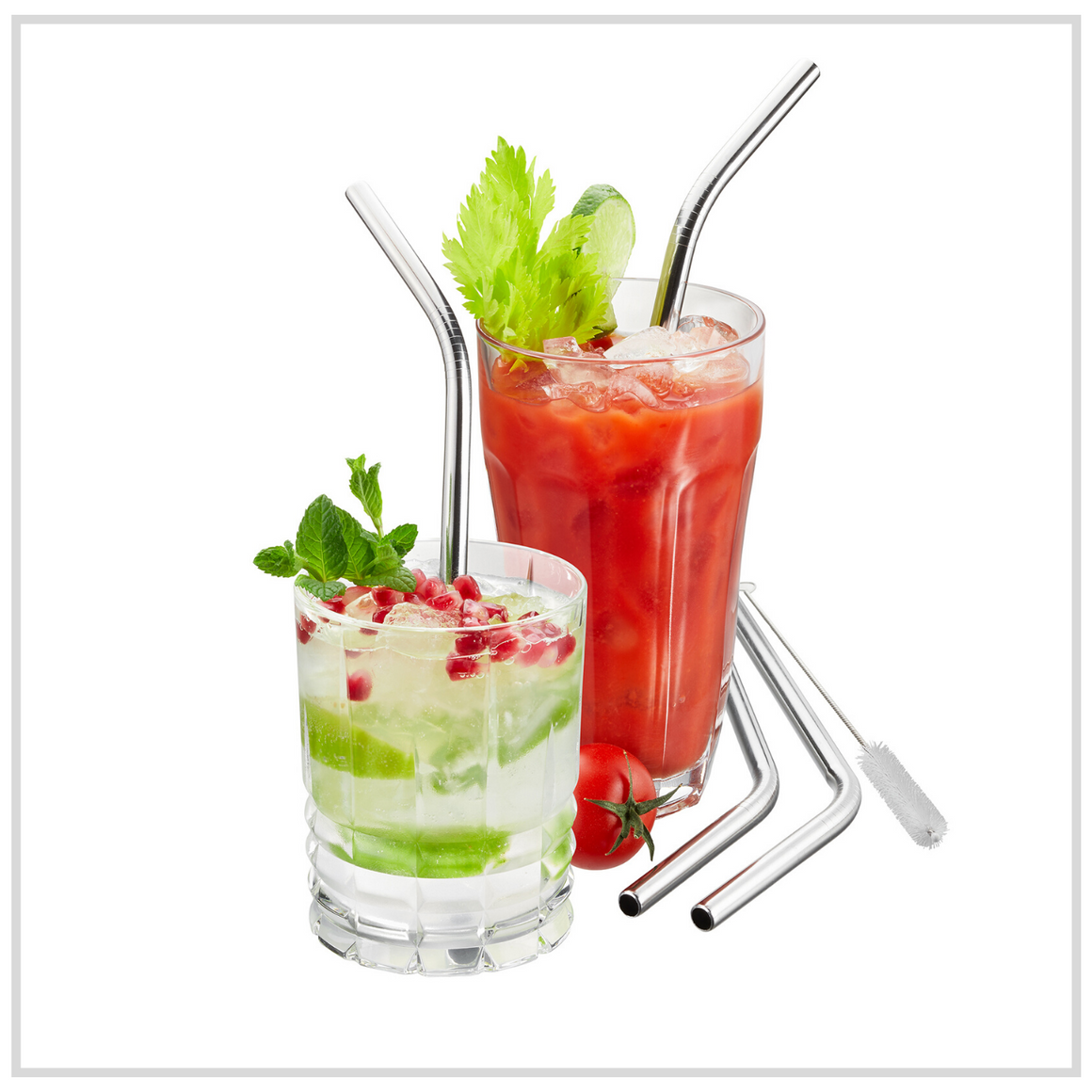 Gefu Stainless steel straw - curved set of 4 pcs