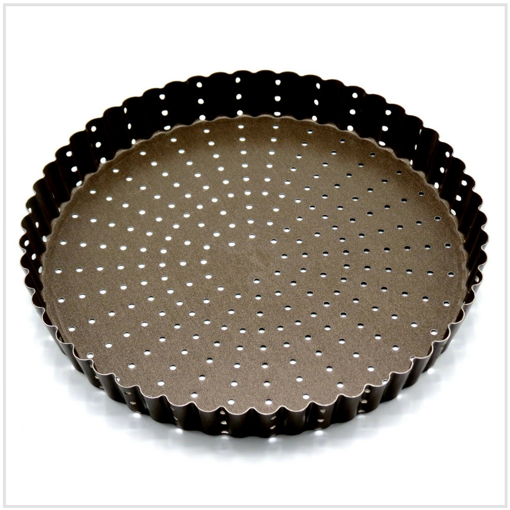 Gobel Non Stick Round Fluted Perforated Tart/Quiche Pan (22 cm)