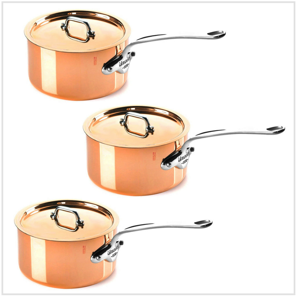 Mauviel M'150S Copper Saucepan Set  (Stainless Steel Fittings)