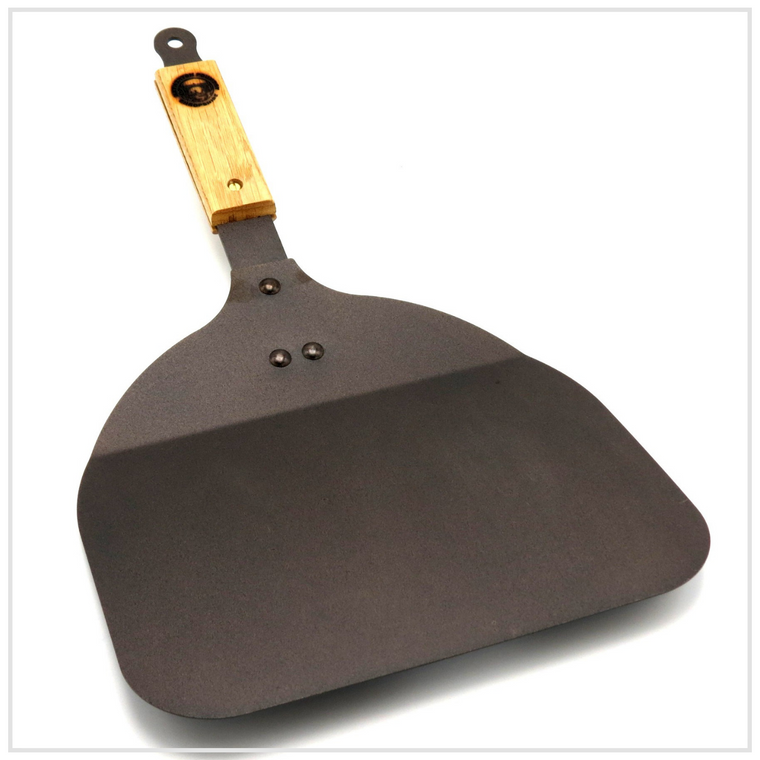 Spun Iron Pizza Peel with Wooden Handle