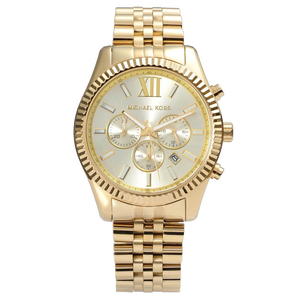 99c206e3bdf0 Details about Michael Kors MK8281 Gold Tone Men s Lexington Chrono Watch -  2 Year Warranty