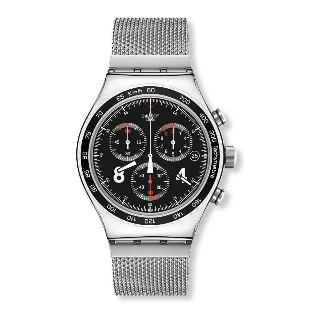 Swatch Mens Blackie Chronograph Watch YVS401G - JB Watches