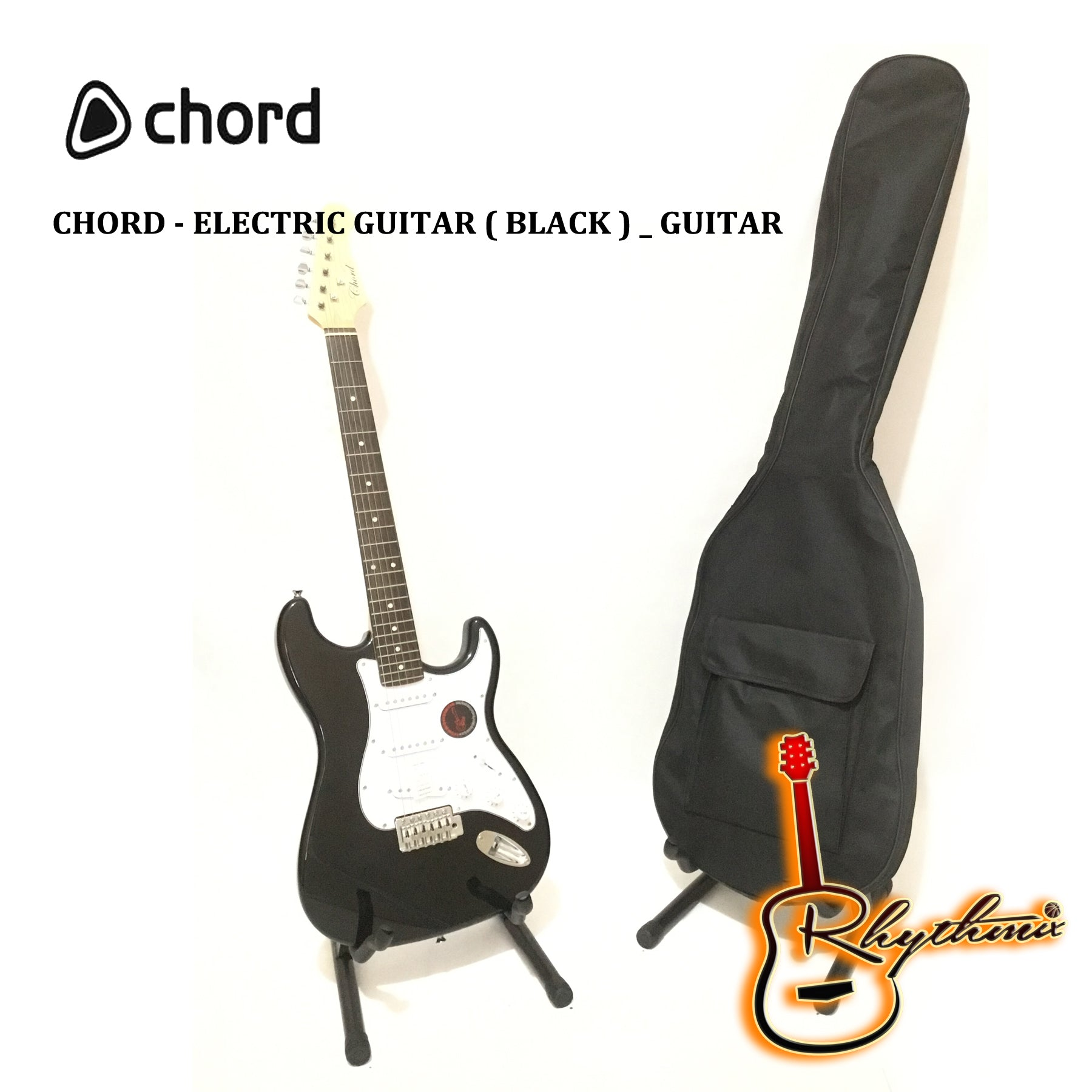 Chord Stratocaster Electric Guitar Black Rhythmix Enterprises