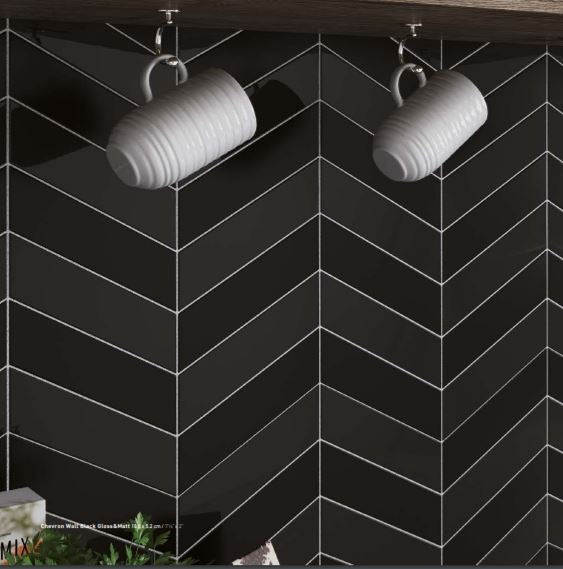Chevron 5,2x18,6 Wall Black matt vasen
