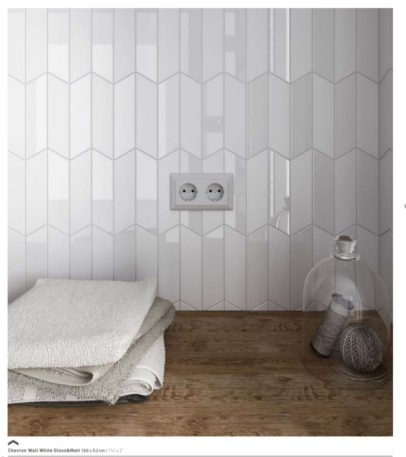 Chevron 5,2x18,6 Wall White matt vasen
