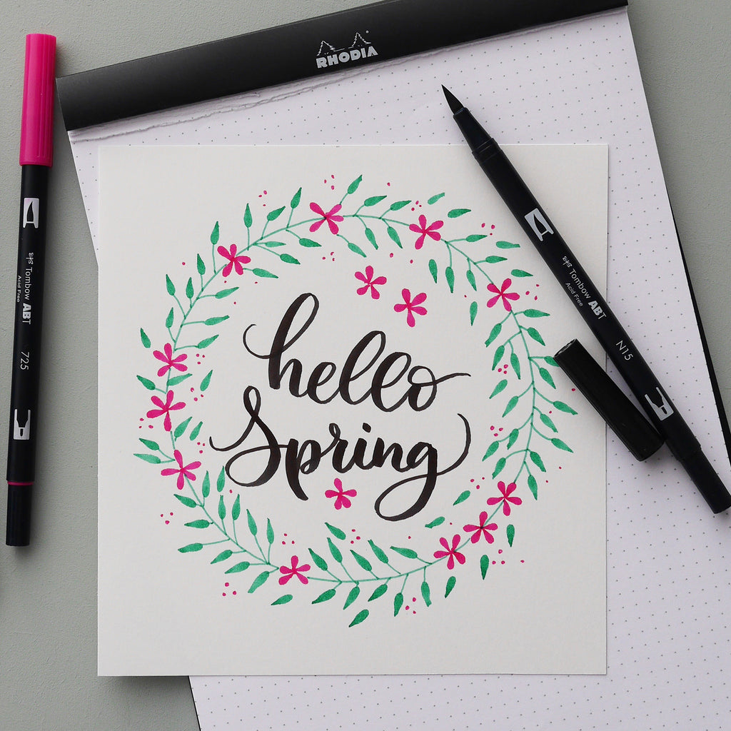 Tutorial: Hello Spring in brush lettering en illustratie