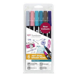 Tombow Dual Brush pen ABT - Vintage kleuren - set van 6