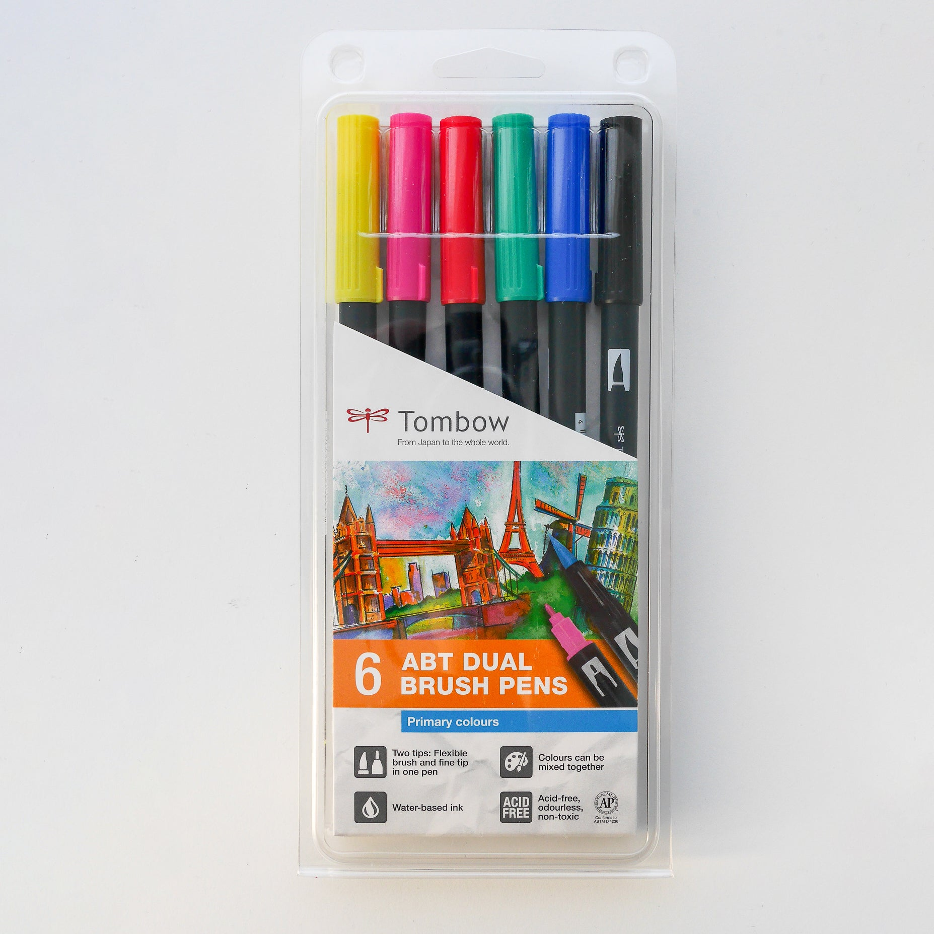 Tombow Dual Brush pen ABT - Primaire kleuren - set van 6