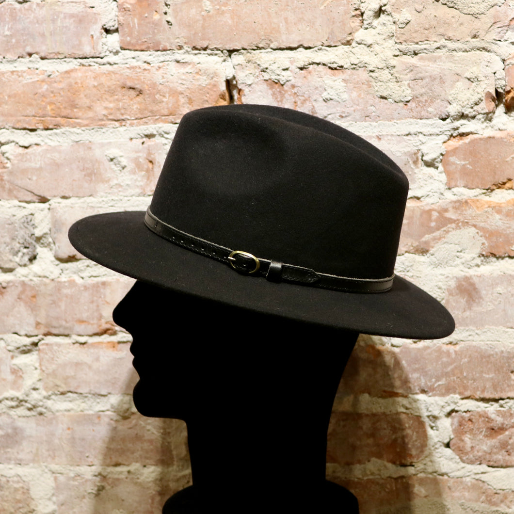 Hats, Fedora Black w black leather band - Wigéns