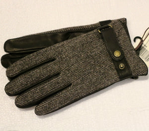 Steston Gloves - Goat Nappa / Woolrich - Black/Grey