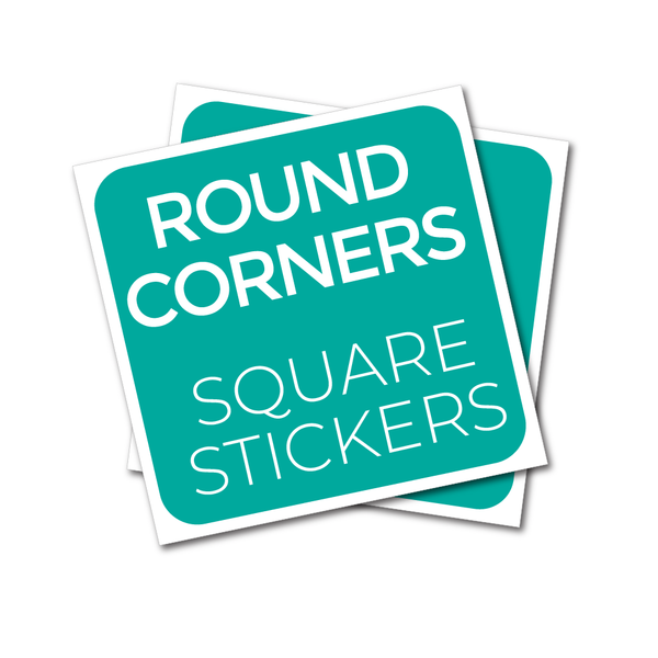 Square stickers with rounded corners