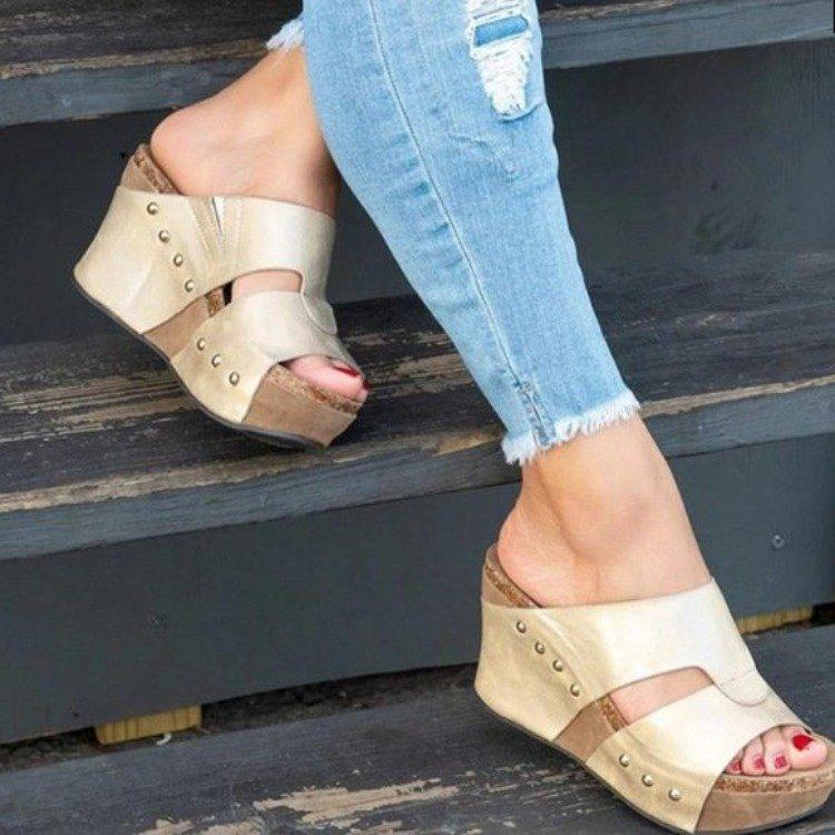 Audrey - Beautiful Summer Sandals - Beige / UK:4 / US:4.5 / EU:35