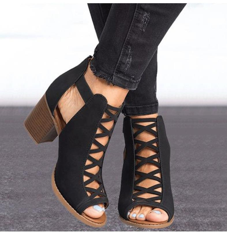 Claudia - Stylish Summer Shoes - Black / UK: 2.5 / US: 5 / EU: 35
