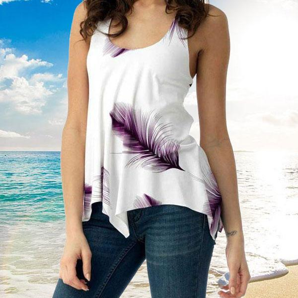 Feather - Cute Summer Top - Purple / S (4-6 US) (8 UK) - Tanktops