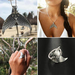 Handmade Mermaid Ring & Necklace - Ring & Necklace Set - Anhänger-Halsketten