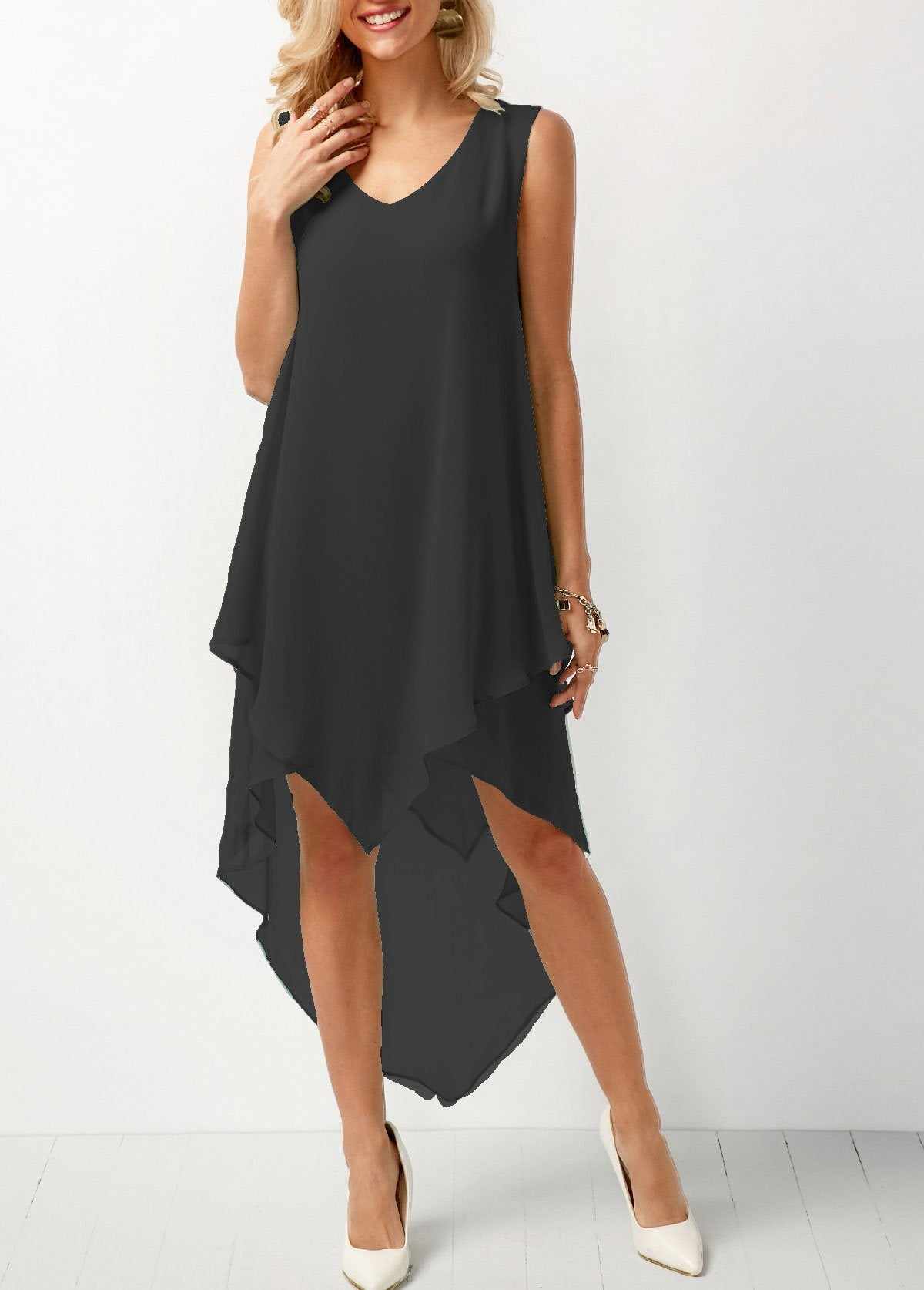Joana - Airy Chiffon Dress - Black / S (4-6 US) (8 UK)