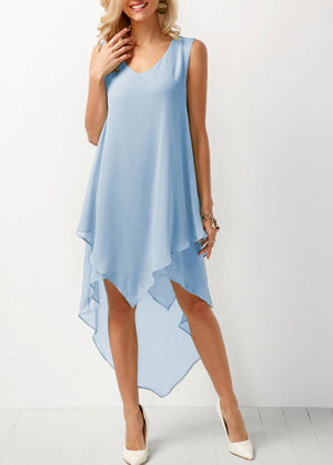 Joana - Airy Chiffon Dress - Blue / S (4-6 US) (8 UK)