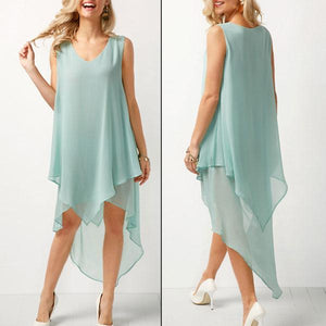 Joana - Airy Chiffon Dress - Green / S (4-6 US) (8 UK)