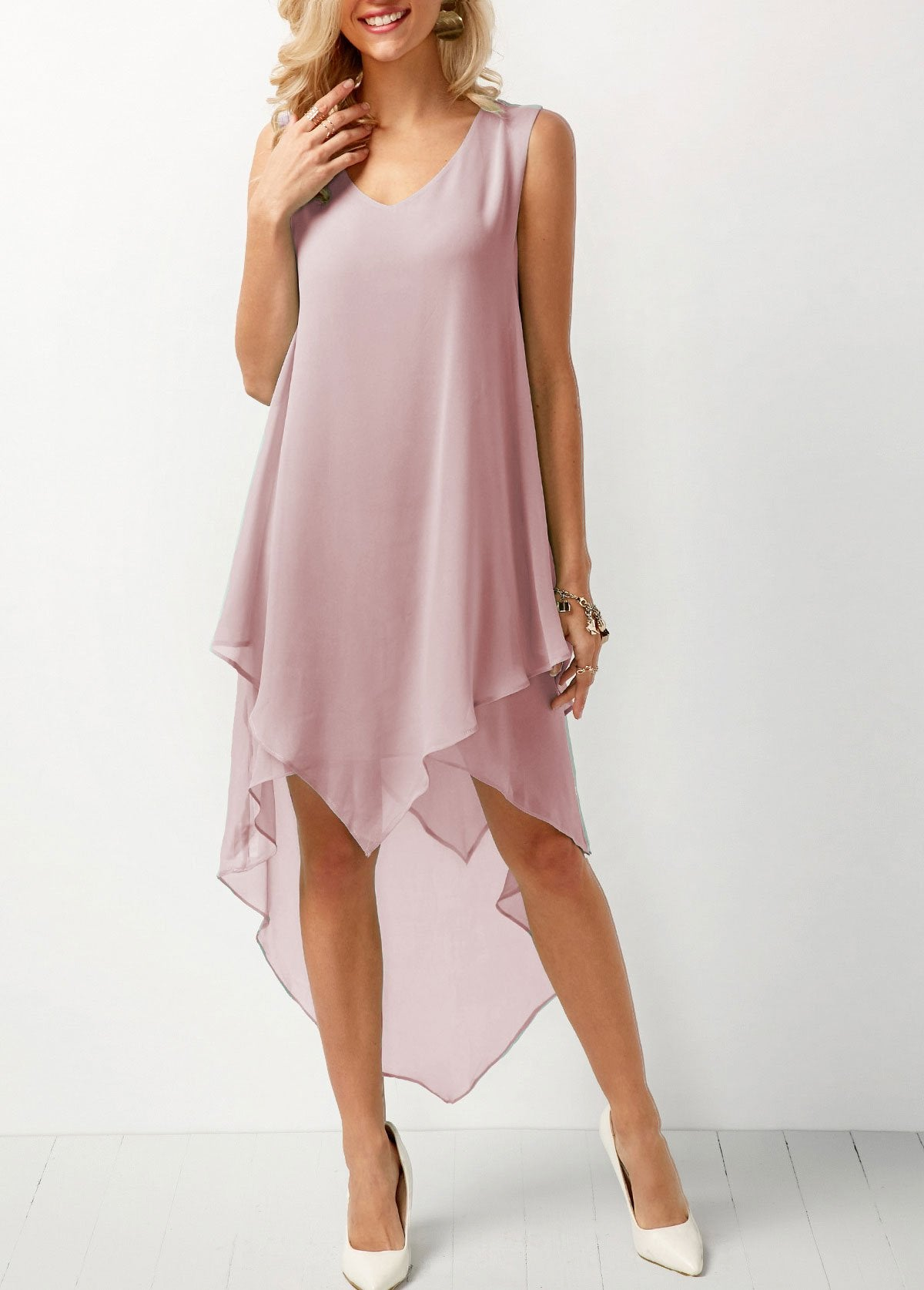 Joana - Airy Chiffon Dress - Pink / S (4-6 US) (8 UK)