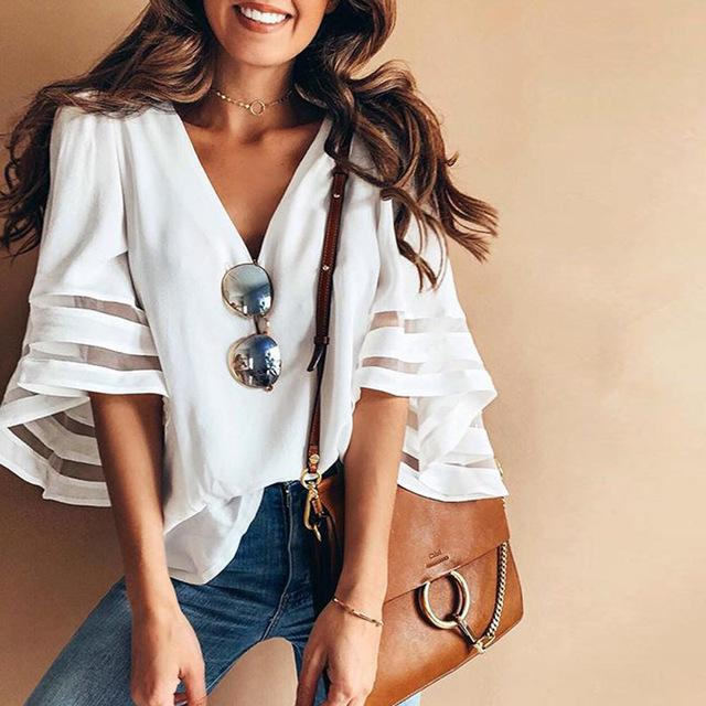 Lisette - Airy Summer Blouse - White / S (4-6 US) (8 UK) - T-Shirts