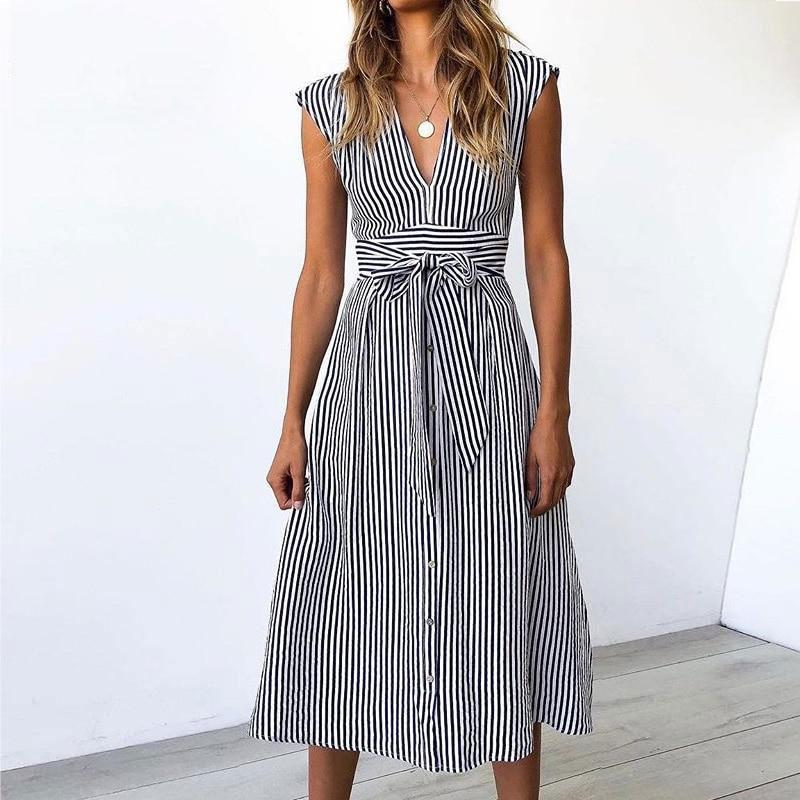 Marilyn - Striped Summer Dress - Blue / S (4-6 US) (8 UK) - Kleider
