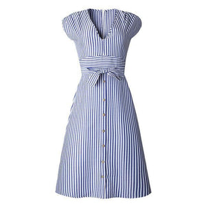 Marilyn - Striped Summer Dress - Kleider