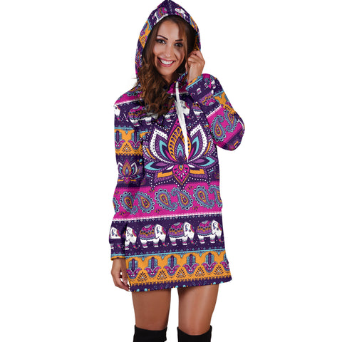 Colorful Lotus Women's Hoodie Dress
