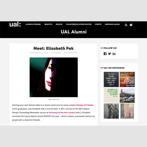 Interview University of the Arts London / ALUMNI 'Meet the Designer: Elisabeth Pek / SHOHEI