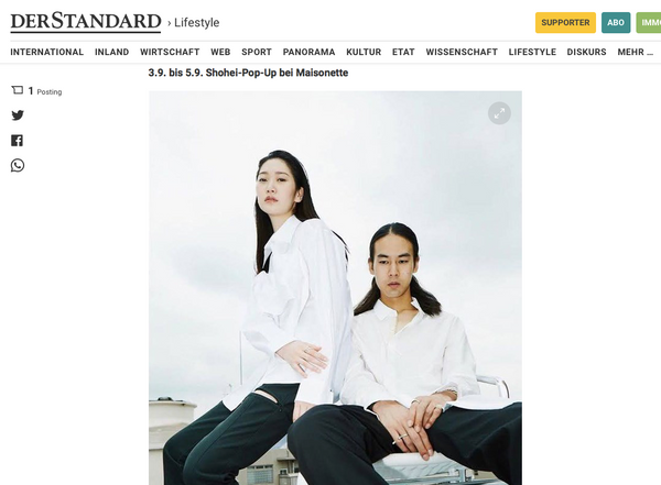 SHOHEI x MAISONETTE pop-up featured on DER STANDARD