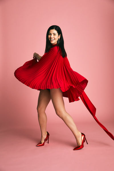 Marina Diamandis wears Apollo red mirror