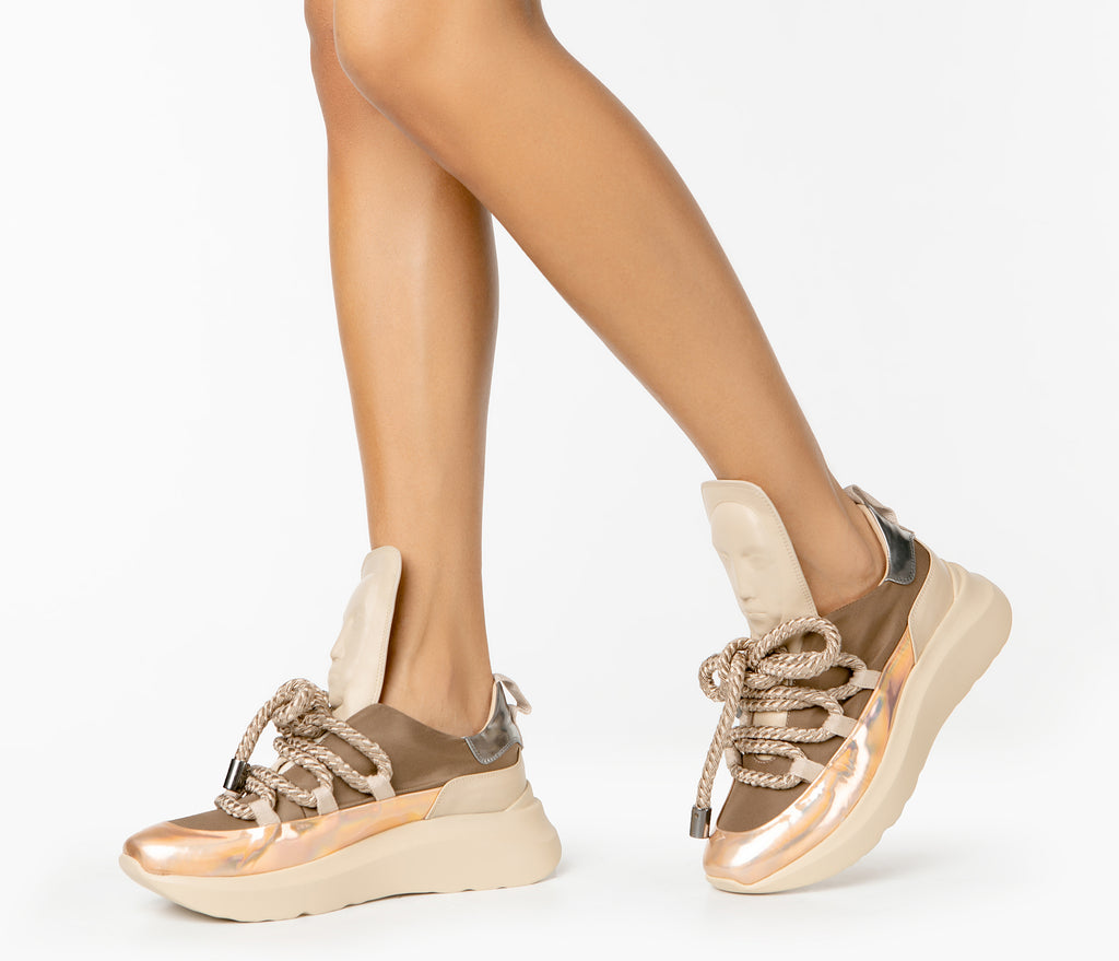 Elegance Ghost sand Top sneakers for ladies