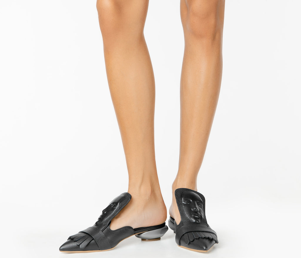 Designer black women's mules with a face Marcel