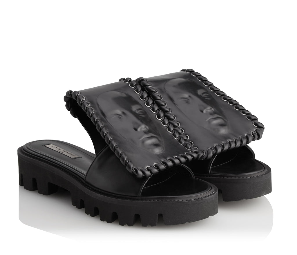 Luxury black women's slides brizo