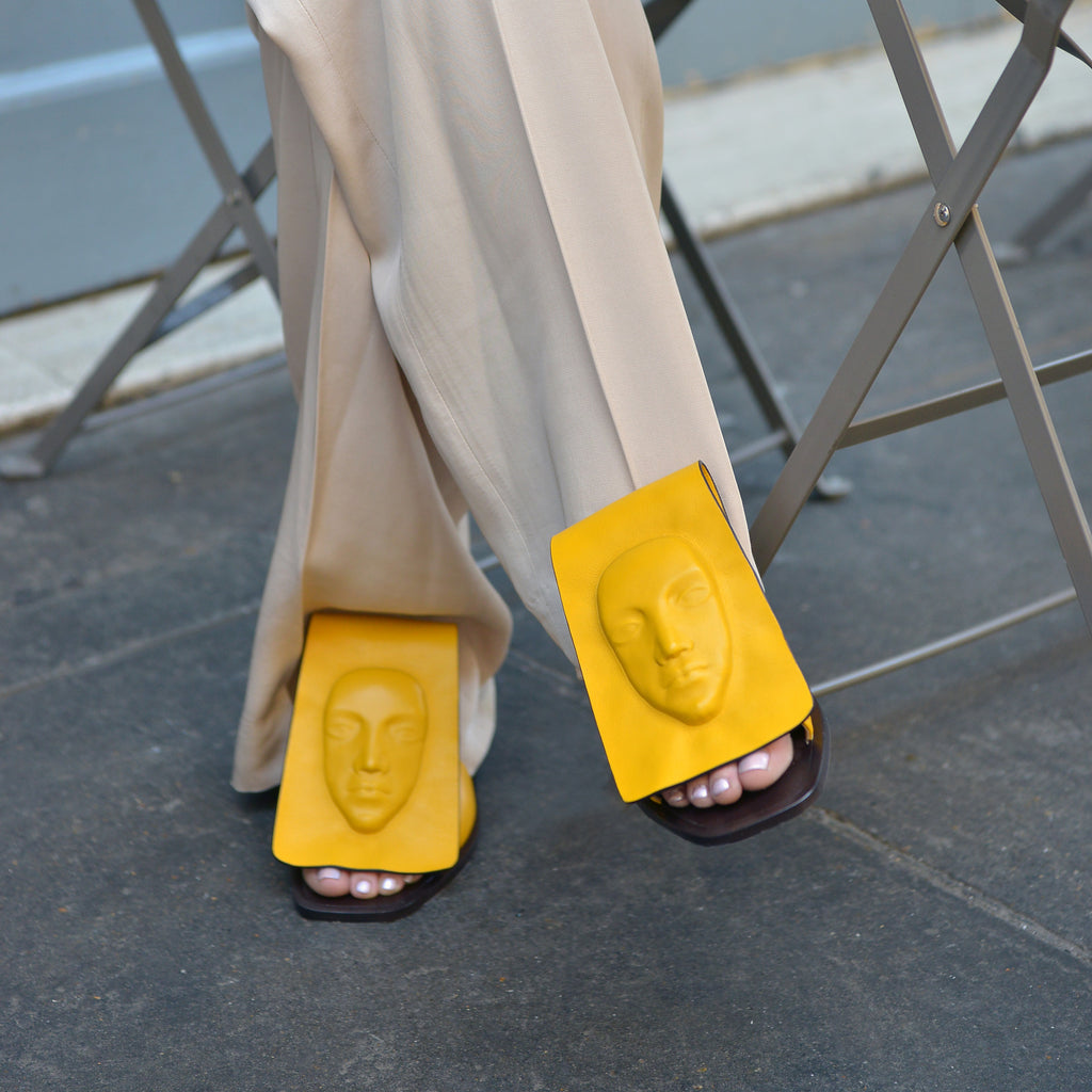 Leather Niche Women's yellow Slides from UK
