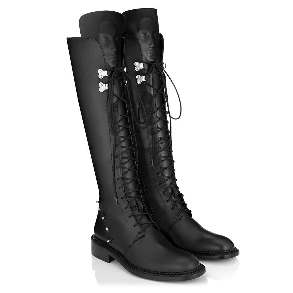 Designer black women's lace up boots  Enyo