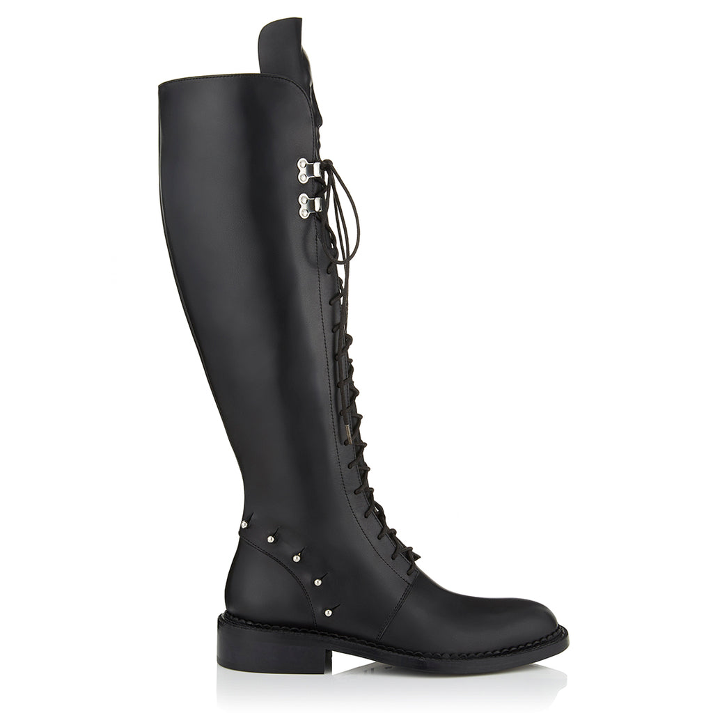 Black women's lace up boots  by the brand Ganor Dominic