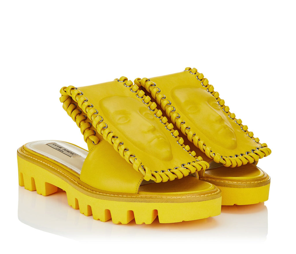 Stylish women's yellow Slides by Ganor Dominic